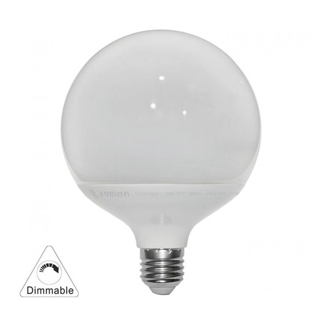 Λάμπα LED Γλόμπος G120 20W E27 6200k 230V Dimmable LUMEN