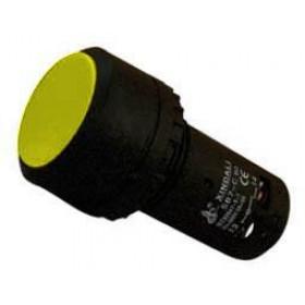 Μπουτόν Χωνευτό Φ22 1NO+1NC 4 Επαφών Κίτρινο SB7-CA55 XINDALI