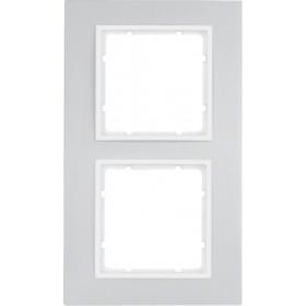 Πλαίσιο 2 Θέσεων Αλουμίνιο Με Λευκό B.7 BERKER