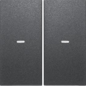 Μετώπη Μπουτόν KNX 2 Πλήκτρων Φωτισμού Ανθρακί S.1/Bx