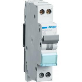 Αυτόματη Ασφάλεια 1P+N C 20A 6kA 1 Στοιχείου HAGER