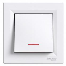 Μπουτόν Απλό Με Λυχνία Προσανατολισμού Λευκό Asfora