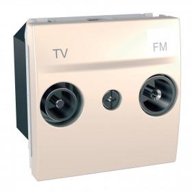 Πρίζα TV-FM Τερματική 2 Στοιχείων Κρέμ Unica