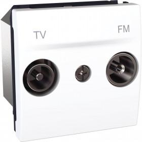Πρίζα TV-FM Διέλευσης 2 Στοιχείων Λευκό Unica
