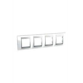 Πλαίσιο 4 Θέσεων Οριζόντιο Λευκό/Αλουμίνιο Unica Top Color