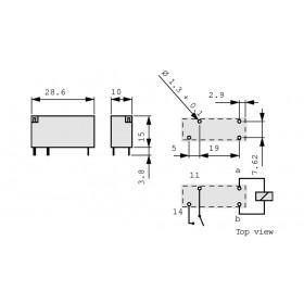 Ρελέ Μινιατούρας 1P 24V DC 8A V23061-A1007-A302 SCHRACK