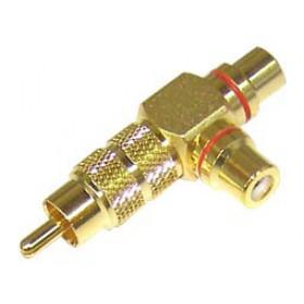 RCA Adaptor Επίχρυσο Αρσενικό Σε RCA Θηλυκό Διπλό (Τ) LZ553G (RP046) YT