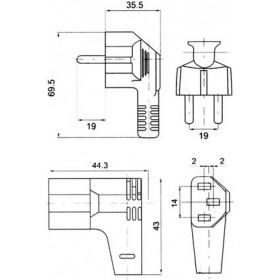 Καλώδιο Τροφοδοσίας Η/Υ 3X0.75mm² 2m Γωνία Μαύρο YUN