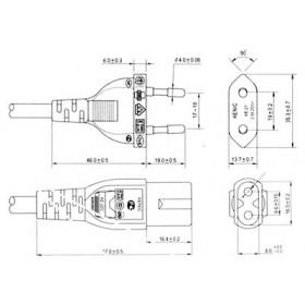Καλώδιο Τροφοδοσίας 2X0.75mm² 1.8m Οκταράκι Μαύρο YUN