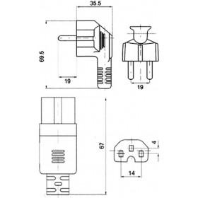 Καλώδιο Τροφοδοσίας Η/Υ 3X1mm² 2m Με Αυλάκι Μαύρο YUN