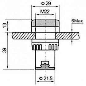 Ενδεικτική Λυχνία LED Φ22 Μπλέ 220VAC AD22-22DS