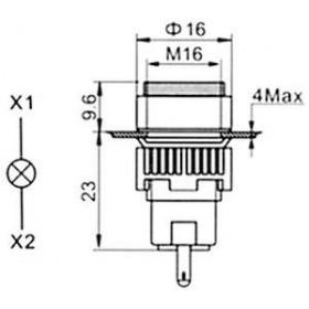 Ενδεικτική Λυχνία Φ16 Κόκκινη Neon 230VAC SDL16-AXD XINDALI