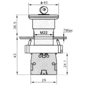 Μπουτόν Χωνευτό Φ22 1NC Μανιτάρι Με Συγκράτηση Και Κλειδί LAY5-BS142 XINDALI