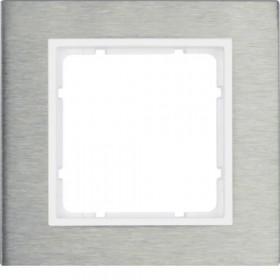 Πλαίσιο 1 Θέσης Inox Με Λευκό B.7 BERKER