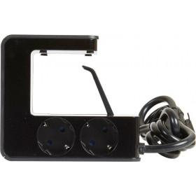 Πολύμπριζο Γραφείου 4 Σούκο και 2 USB Μαύρο 1,5m LEGRAND