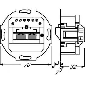Μηχανισμός Πρίζας Τηλεφώνου Διπλή  RJ45 0215 Busch-Jaeger