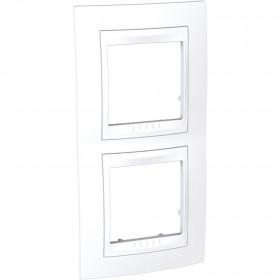 Πλαίσιο 2 Θέσεων Κάθετο Λευκό/Λευκό Unica Plus
