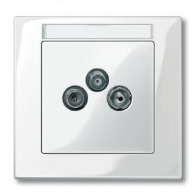 Μετώπη Πρίζας TV-R-SAT Λευκό System-M