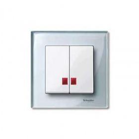 Μετώπη 2 Πλήκτρων Φωτεινής Λειτουργίας Λευκό System-M