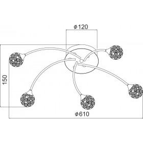Φωτιστικό Πεντάφωτο G9 Χρώμιο Και Κρυσταλλο AD2012005C ACA