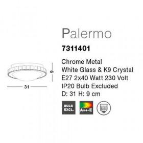 Πλαφονιέρα E27 Λευκό Με Κρύσταλλο Palermo 7311401 NOVA LUCE