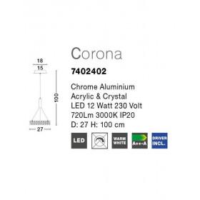 Φωτιστικό LED 12W 3500k Corona 7402402 NOVA LUCE