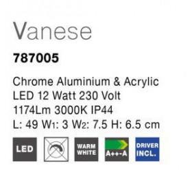 Απλίκα Μπάνιου LED 12W 3000k Χρώμιο Vanese 787005 NOVA LUCE