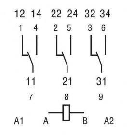 Ρελέ Υψηλών Ρευμάτων 3P 24VDC 16A FASTON 6233 FINDER