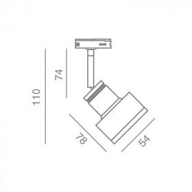Σπότ Ράγας 2 Καλωδίων GU10 Αλουμίνιο AK1027M AKRIphos