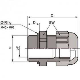 Στυπιοθλήπτης Καλωδίων Μετρικός M40x1.5 Γκρί SKINTOP® ST-M LAPP